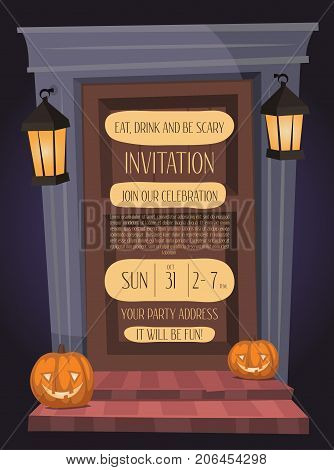 Halloween night party invitation with haunted house doorway and pumpkin head jack lanterns, isolated cartoon vector illustration on blue background. Halloween design template with space for text.