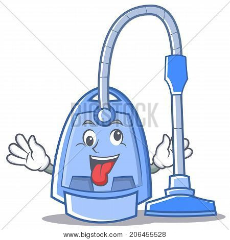 Crazy vacuum cleaner character cartoon vector illustration