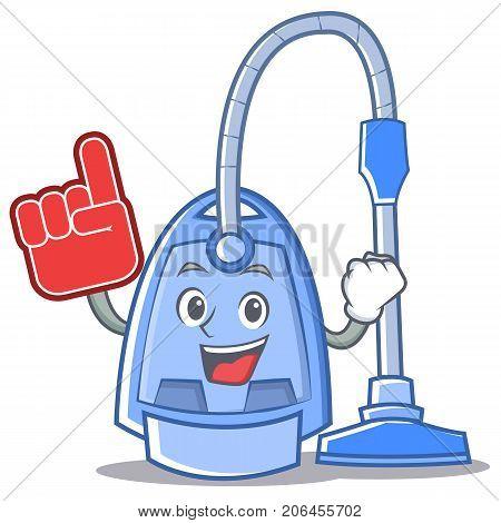 Foam finger vacuum cleaner character cartoon vector illustration