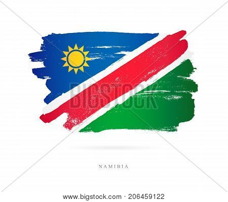 The flag of Namibia. Vector illustration on white background. Beautiful brush strokes. Abstract concept. Elements for design.