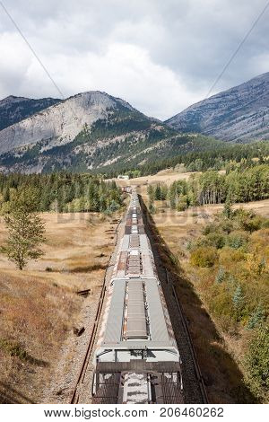 Overhead View of Grain Cars Stretching toward Mountains (vertical)