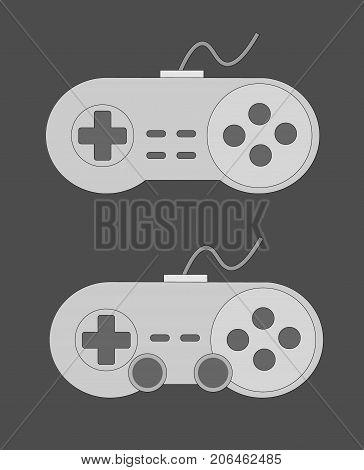 Retro joystick gamepad icon. Set of video game controls. Vector illustration