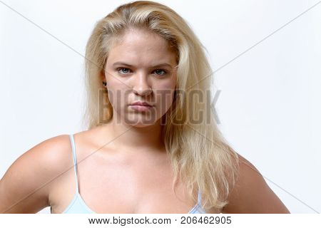 Sulky Looking Overweiht Young Woman