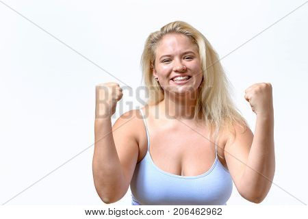 Enthusiastic Jubilant Young Woman