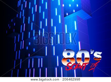 Neon 80s background with futuristic architectural abstract for new retro wave revival party poster poster