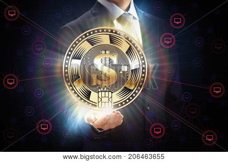 Block chain bit crypto currency coin business network mining concept design. Businessman with internet money in hand. E-commerce and e-banking security symbol.