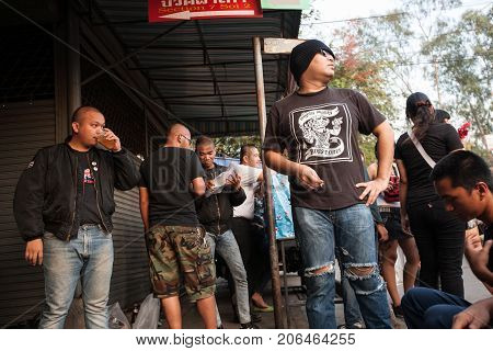 Punk And Skinhead Teens In Chatuchak Market