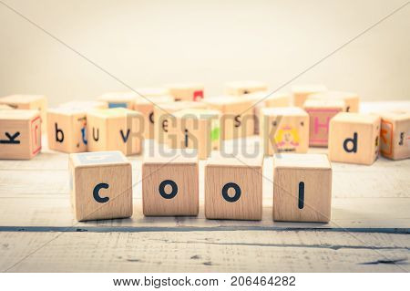 Word ' cool  ' wood Cubic on the wood