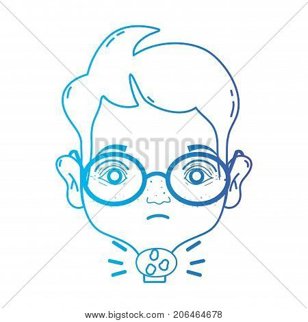 line man with sore throat sickness virus vector illustration