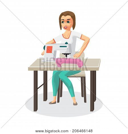 Woman housewife sews on the sewing machine. Flat cartoon vector illustration