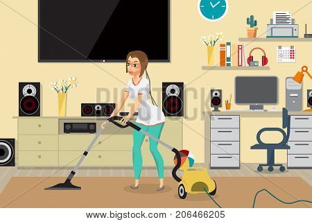 Housewife vacuuming home with a vacuum cleaner in the room. Young woman doing domestic work. Flat cartoon vector illustration