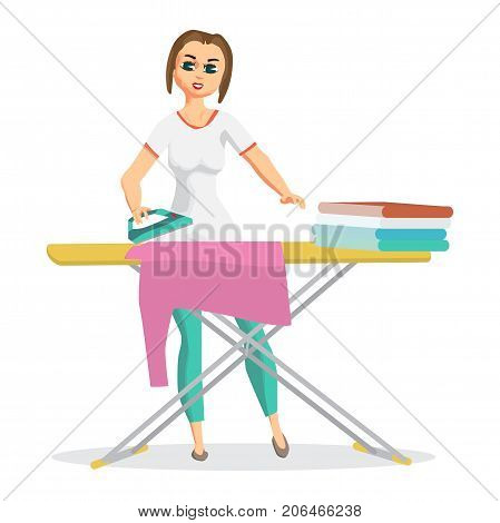 Woman housewife iron clothes on an ironing board. Flat cartoon vector illustration