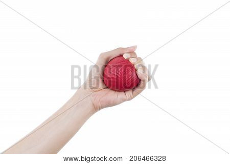 woman hand holding red stress ball on white background