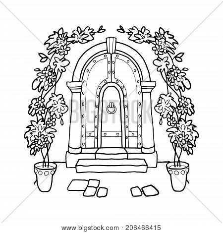 vector image vintage wrought iron doors, a beautiful entrance to the house with columns and flowers