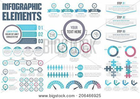 Infographic elements - process, steps, options, workflow, timeline, circle diagram, human infographics, pie charts, puzzle infographics, vector eps10 illustration
