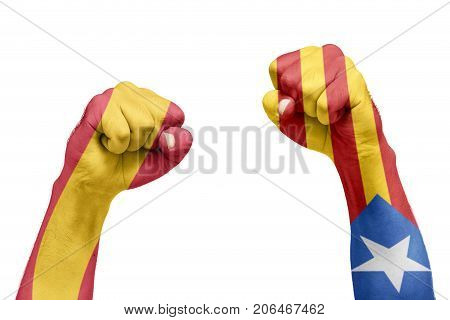 Spanish And Catalan Flag Painted In The Hand With A Fist. Referendum