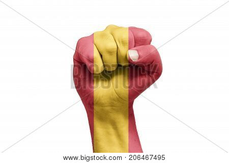 Spanish Flag Painted On Hand With Fist Shape. Referendum