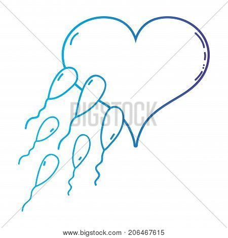 line spermatozoon reproduction fertilizing ovum in heart shape vector illustration