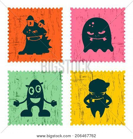 Set of retro postage stamp with funny monsters. Cartoon vector illustration