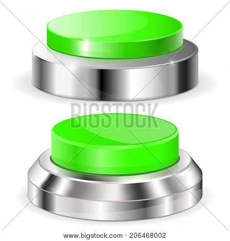 Green push buttons with metal base. Vector 3d illustration isolated on white background