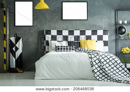 King-size Bed With Checkered Bedhead