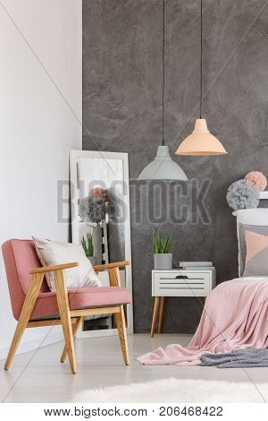 Vintage Pink Chair In Bedroom