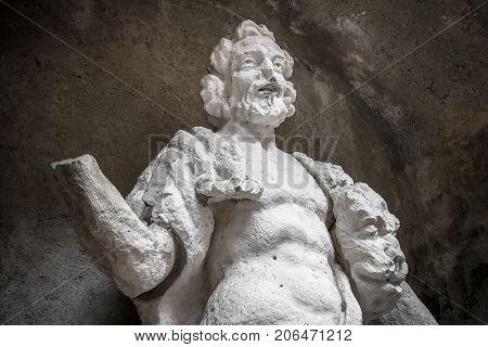 Statue of Hercules killing Nemean lion. Statue of the 16 century. Medieval art.