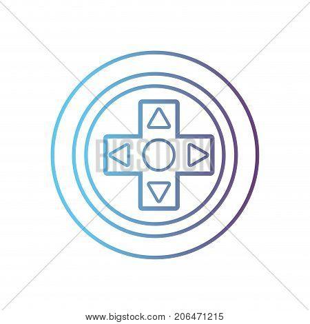line videogame controller buttons technology design vector illustration