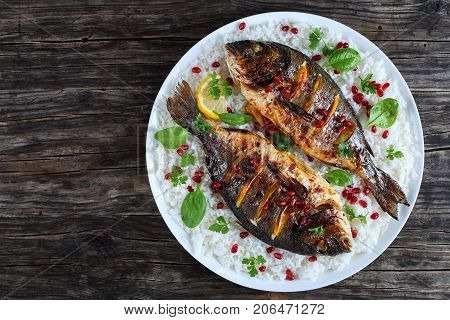 Grilled Whole Fish On Bed Of Rice