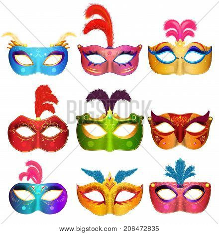 Mardi Gras Venetian handmade carnival masks. Face masks collection for masquerade party. Vector illustration