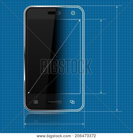Mobile phone as draft and 3d model on blueprint background. Vector illustration