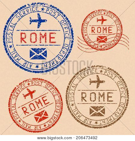 Rome postmarks collection. Faded colored impress. Vector illustration on beige background