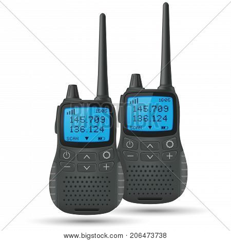 Radio transceivers. Two black portable devices with blue screen and antenna. Vector 3d illustration isolated on white background