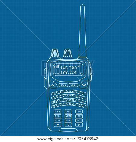 Radio transceiver. Rectangle portable device with screen and antenna. Outline vector illustration on blueprint background