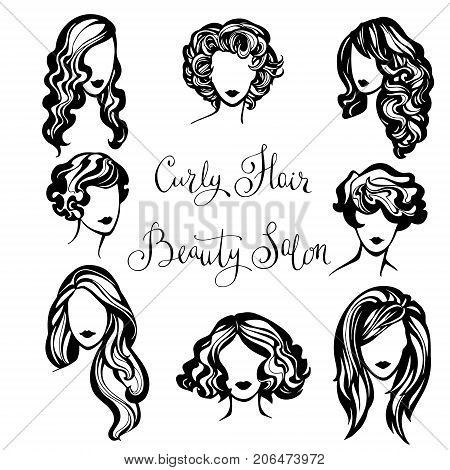 vector set of stylized logo with wavy women's hairstyles , collection of fashionable hairstyles for curly hair for stylish women