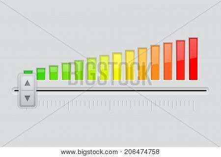 Interface slider. From minimum to maximum level. Vector 3d illustration