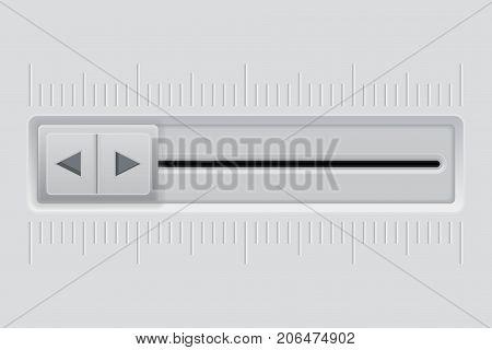 Playback slider. Gray long slider bar. Vector 3d illustration