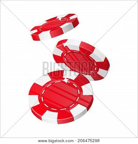 Falling red chips cartoon style isolated. Three falling red casino chips in a cartoon style for designers and illustrators. Dropping of casino stakes in the form of vector illustrations