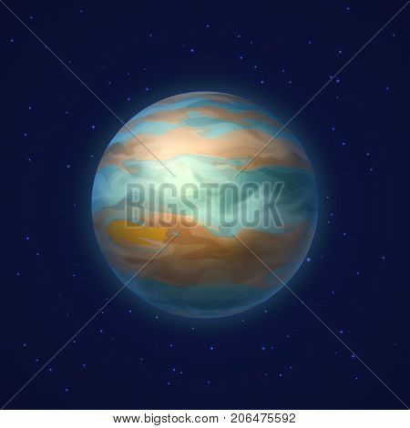 Planet jupiter background night sky cartoon style. Planet jupiter against the background of the night sky in cartoon style for designers and illustrators. Celestial body as a vector illustration