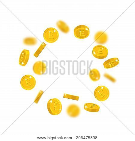 Gold pounds floating cartoon isolated. Gold pounds with the effect floating in the air in a cartoon style for designers and illustrators. Flying pieces in the form of vector illustrations