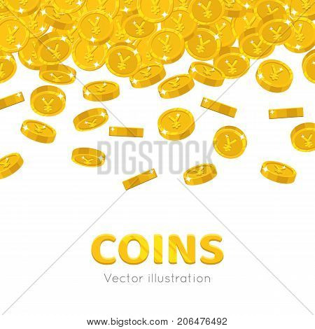 Raingold Chinese yuan or Japanese yen cartoon frame. A rain of the flying gold of yuan or yen in the form of a frame in a cartoon style. Falling gold pieces in the form of vector illustrations