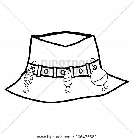 line fishing peasant hat object, to warker vector illustration