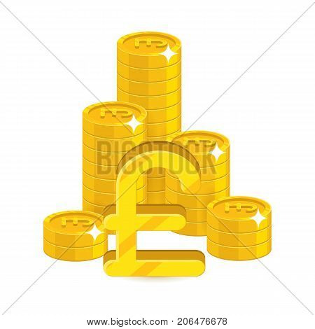 Bunch gold pounds isolated cartoon. Bunches of gold pounds and pound signs for designers and illustrators. Gold stacks of pieces in the form of a vector illustration