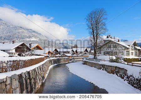 Loisach River Flowing Through Garmisch-partenkirchen, Winter Landscape Bavaria