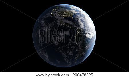 Earth with clouds illuminated by Sun on one side on night side of lights of cities America comes in morning an isolated globe on a black background 3d rendering elements of this image are furnished by NASA