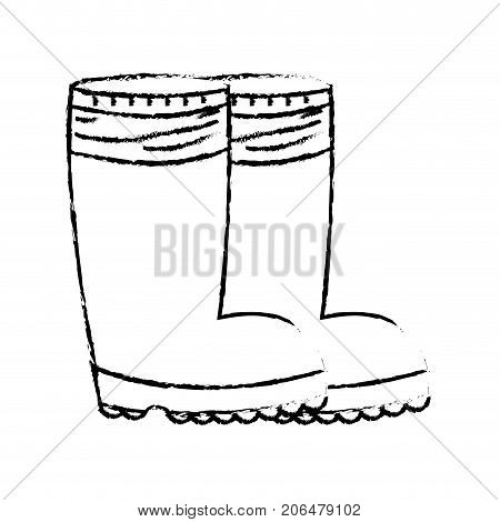 figure rubber boots object to protection feet vector illustration