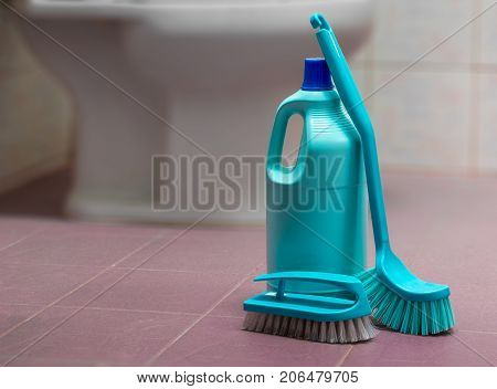 Bottle of Bathroom Cleaner and Brushes on the Floor