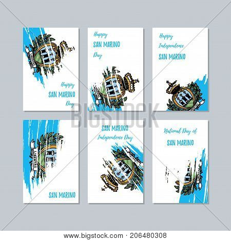San Marino Patriotic Cards For National Day. Expressive Brush Stroke In National Flag Colors On Whit