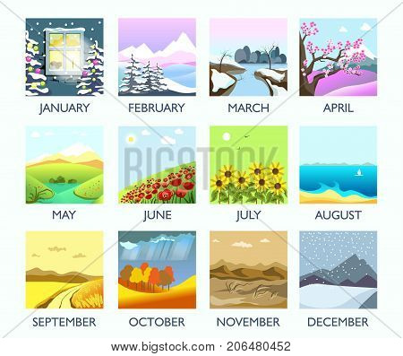 Four seasons nature landscape by month winter, summer, autumn and spring weather. Vector flat monthly mountain forest in snow, blooming flower and tree on field, leaf fall and rain, summer ocean beach