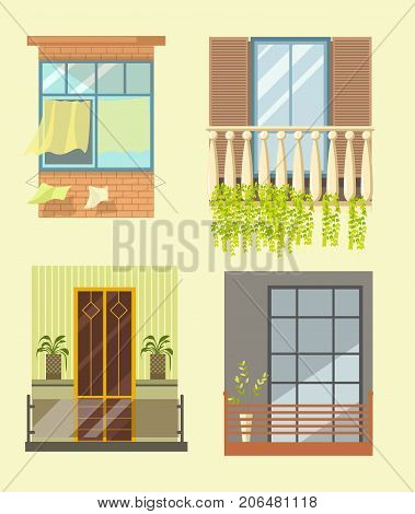 Windows and house balcony exterior facade in different styles. Glass terrace or loggia window with shutters shades or blinds and marquise of modern, old and ancient apartments. Vector flat icons